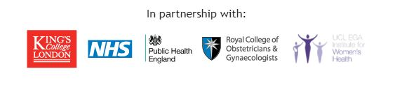 Logos for Kings College, NHS, PHE, RCOG and UCL EGA