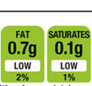 Image of infographic that shows amount of fat in a food product, both amounts 0.7g and 0.1g are in green.